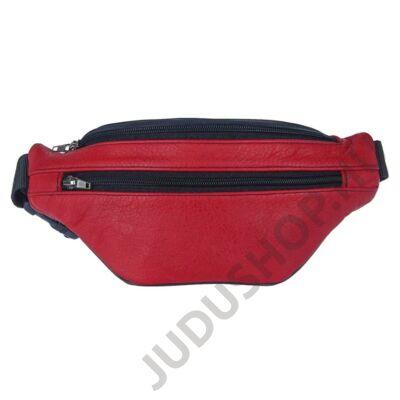 3 zsebes piros bőr övtáska