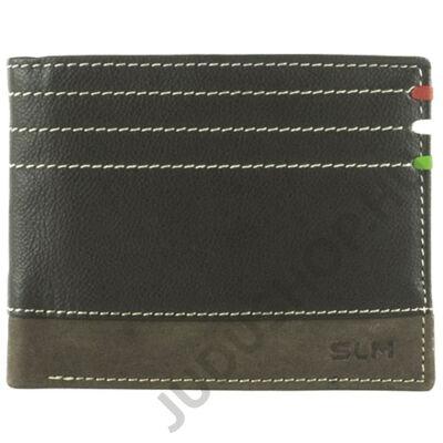 SE6002L kapocs nélküli barna férfi bőr pénztárca eleje
