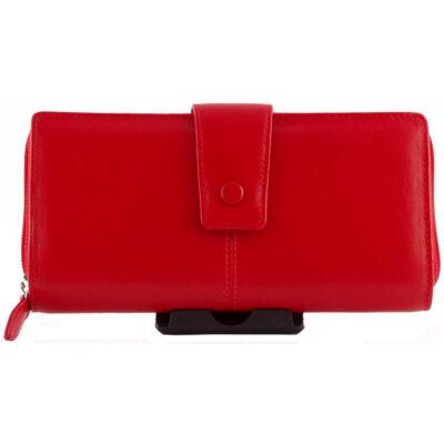 La Scala 76 nagy méretű piros női bőr pénztárca eleje