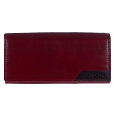 Cefiro xh2001-3166-3a bordó-fekete bőr pénztárca