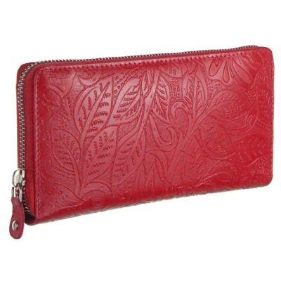 Farkas 129 virágos piros  női bőr pénztárca