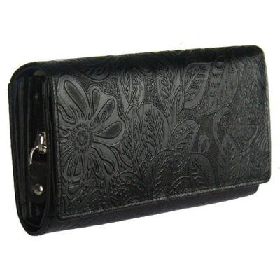 Farkas 8672-8-2 fekete virágos női bőr pénztárca