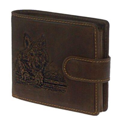 Farkasfej nyomással díszített nyers marhabőr pénztárca