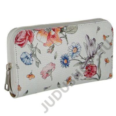Virágmintás fehér bőr pénztárca