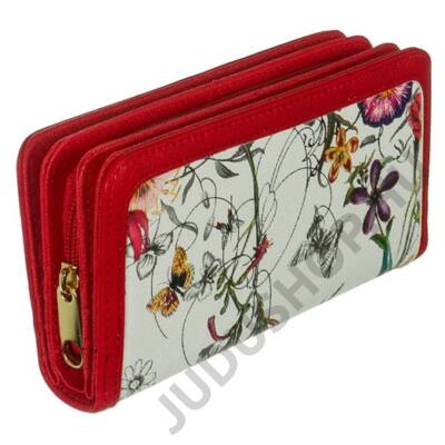 77hd414-3 virágos fehér-piros műbőr pénztárca
