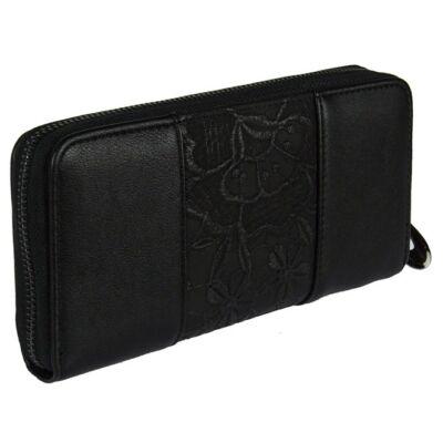 9013-2 fekete virágos műbőr pénztárca