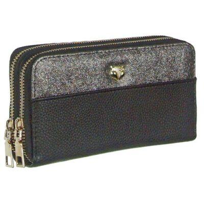 1817-6 fekete-ezüst műbőr pénztárca