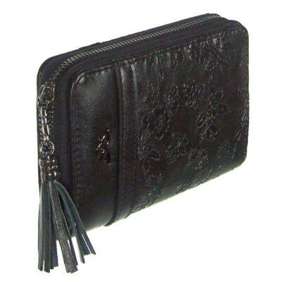 XTD T025 fekete virágos pénztárca
