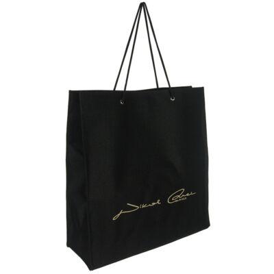 Zsinór fogós fekete textil táska