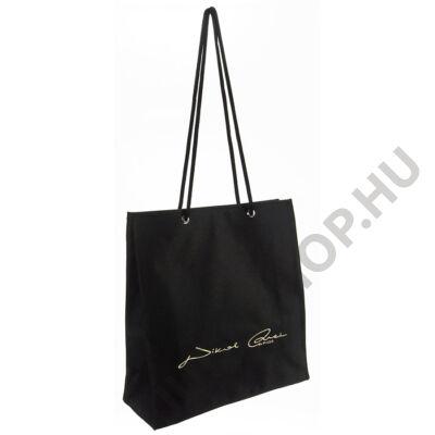 Hosszú zsinór fogós fekete textil táska